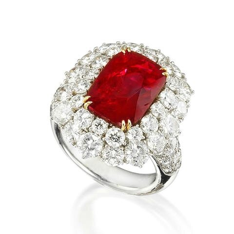 A fine ruby and diamond dress ring