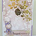 Gold and flowers card, #mamaElephant