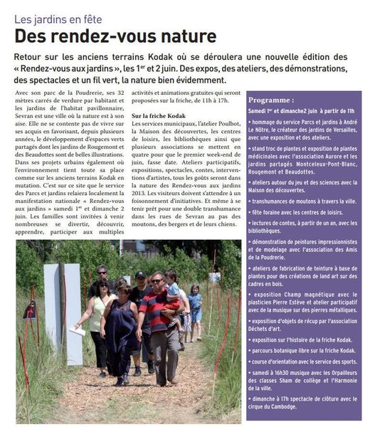 Rendez vous des jardins 2013 les artistes du parc forestier for Rendez vous des jardins
