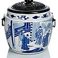 A blue and white porcelain cachepot with a figural scene, china, kangxi period (1662-1722)