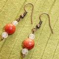 Boucles corail et quartz rose