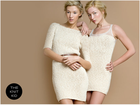 knit dress boat neckline sleeve cream off white cotton