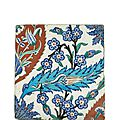 Iznik tile. fritware with underglaze painted decoration, turkey, iznik, circa 1575, ottoman empire