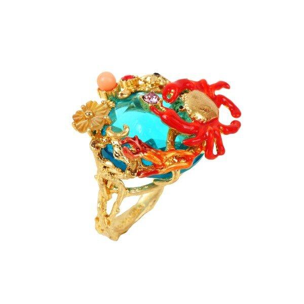 bague-pierre-bleue-ocean-crabe-et-corail