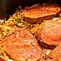 Rôti de boeuf à la fleur de sel et oignons roussis