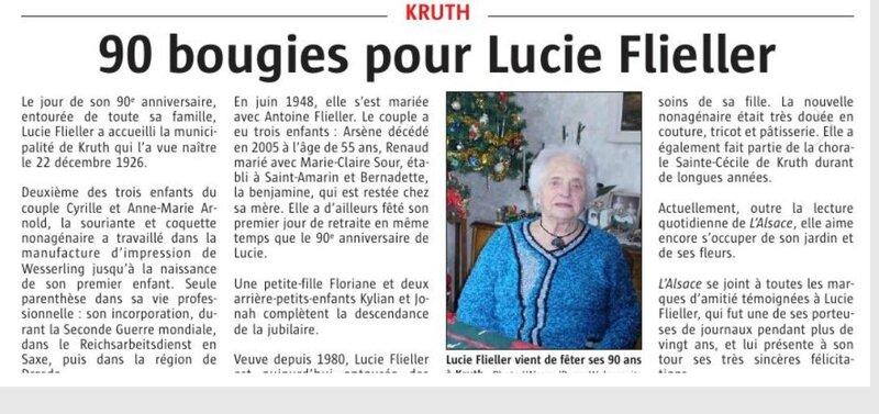 90 ans Lucie Arnold Flieller