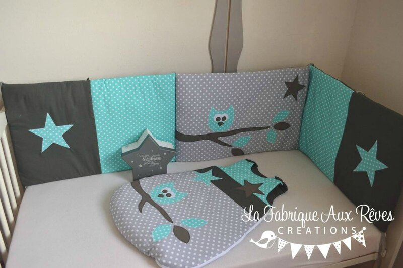 tour lit et gigoteuse hibou toiles turquoise cara be. Black Bedroom Furniture Sets. Home Design Ideas