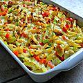 Gratin de pennes, poulet au curry et petits légumes