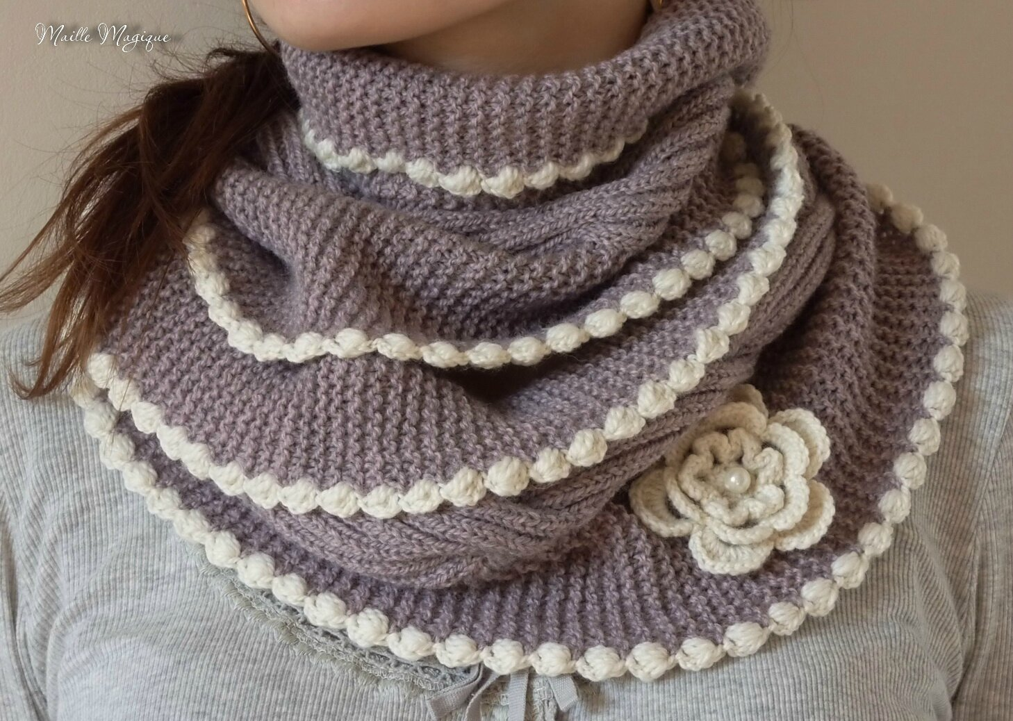 Tricoter un snood dimensions - Comment faire une diminution au tricot ...