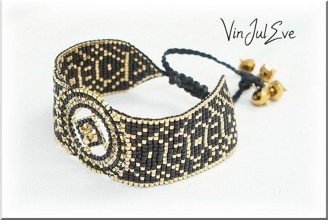 bracelet loom plaque ronde noir or