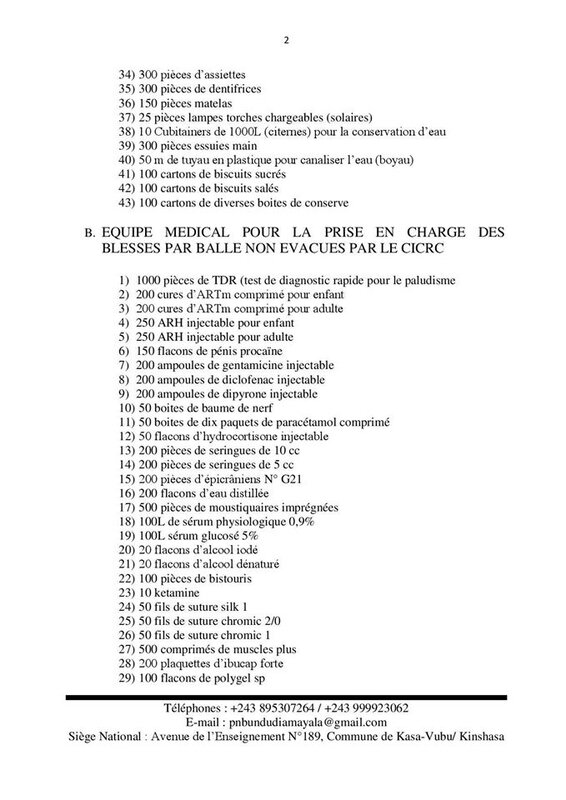 ETATS DES BESOIN URGENT DES ADEPTES DE BDK BDM SUITE AUX ATTAQUES DE KABILA b
