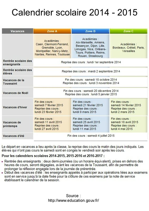 Calendrier scolaire 2014 2015 association de parents d - Calendrier scolaire 2014 2015 ...
