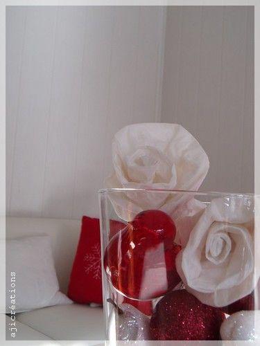 Roses de Noël en blanc et Rouge