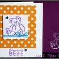 carte de naissance unisexe orange à pois avec ourson violet
