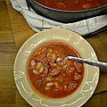 Soupe épicée aux mojettes et saucisses de montbéliard