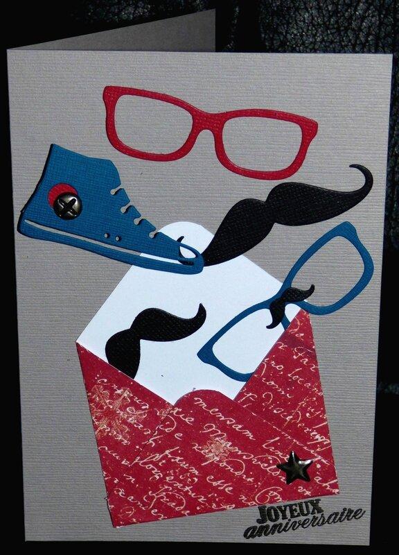 une enveloppe une basket des lunettes des moustaches une carte d 39 anniversaire. Black Bedroom Furniture Sets. Home Design Ideas