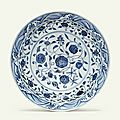 A large rare blue and white 'floral scroll' dish, yongle period (1403-1424)