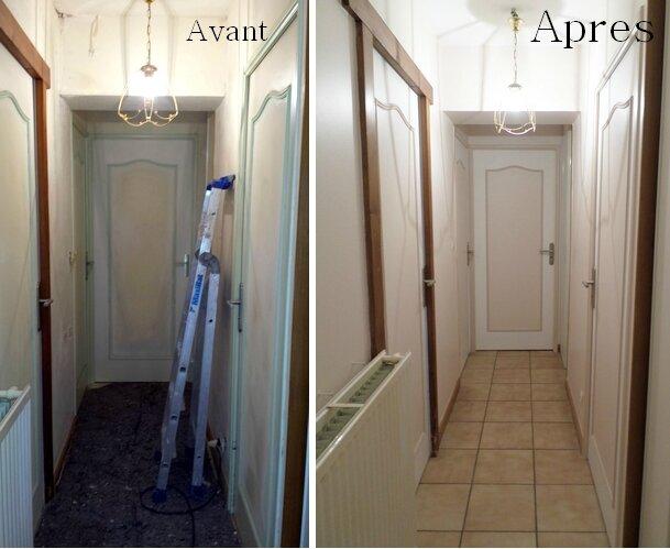 Travaux d 39 une entr e mont e d 39 escalier et d 39 un couloir peintur - Couleur peinture entree couloir ...