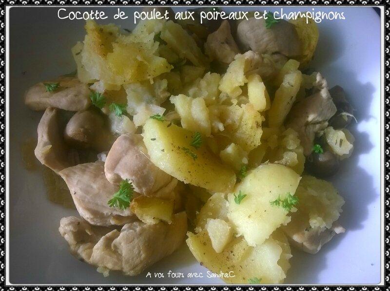 Cocotte de poulet aux poireaux et champignons