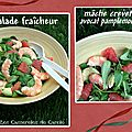 Salade fracheur mche crevettes avocat pamplemousse
