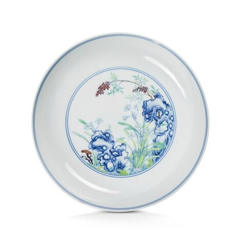 A rare imperial doucai 'narcissus' dish, Yongzheng six-character mark and of the period