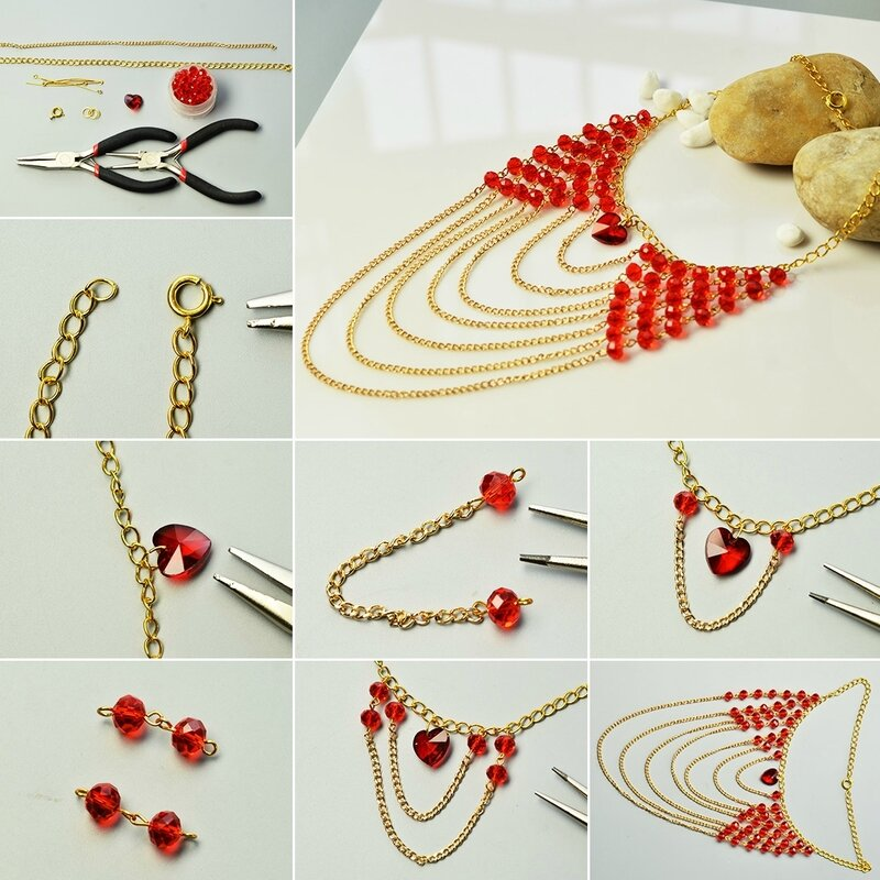 How-to-Make-Red-Glass-Beads-and-Heart-Bead-Multi-Strands-Chain-Necklace