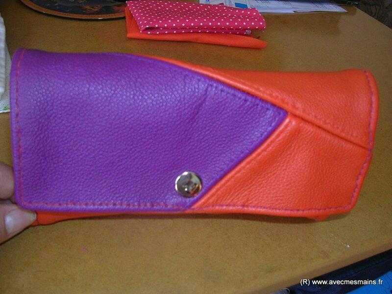 portefeuille cuir et tissu