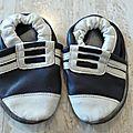 Chaussons en cuir façon basket semelle 13cm
