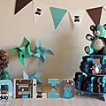Baptême thème nounours turquoise et chocolat