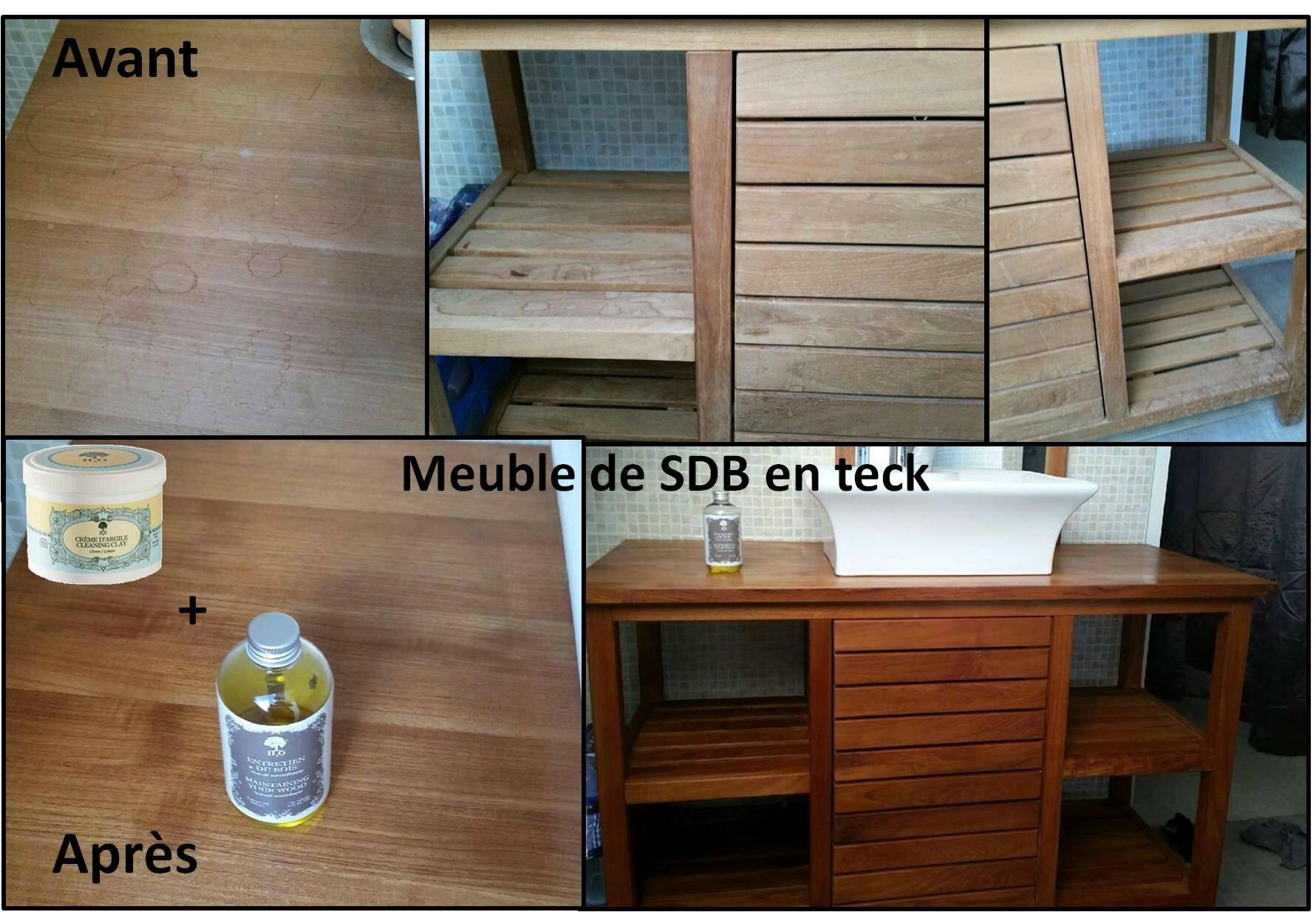 L 39 entretien bois sur un meuble de sdb en teck st phanie for Entretien meuble en teck