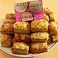 Minis cakes du sud (pistou rouge et vert pimente au grana padano maison, tomates sechees pimentees maison et gruyere rape)