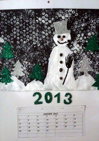 64_NOËL_Calendrier Bohomme de neige