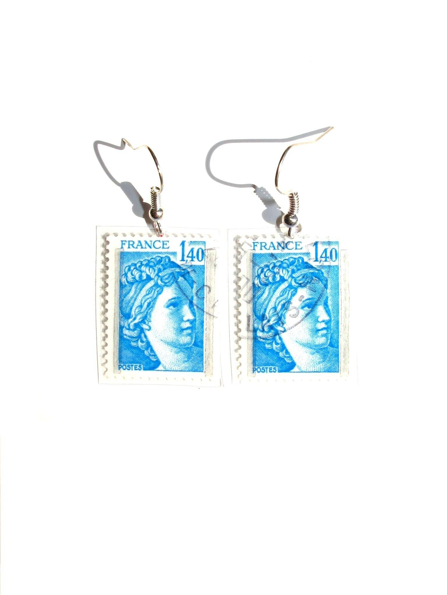 boucles d'oreilles timbre france Sabinne bleu clair