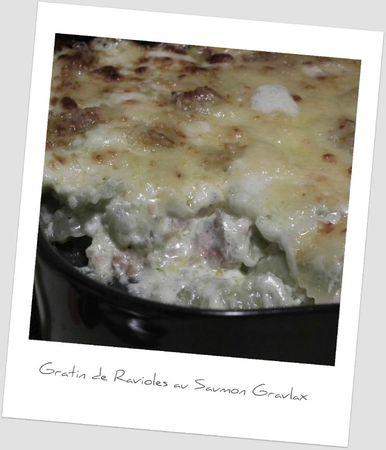 Gratin de ravioles au saumon gravlax
