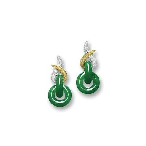 Pair of Jadeite 'Double Hoop' and Diamond Pendent Earrings