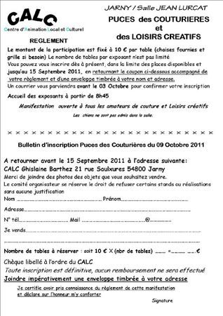 bulletin inscription puces