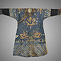 Antique chinese embroidered silk and gilt metallic thread dragon robe, late 19th century