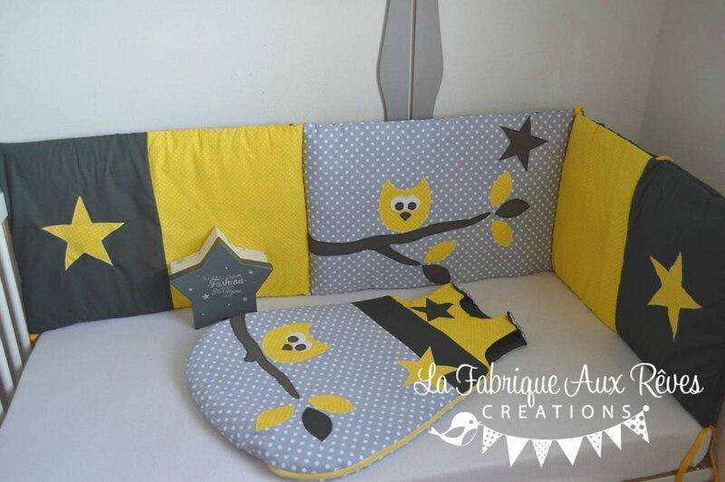 tour lit bébé hibou étoiles jaune gris blanc banches feuilles - décoration chambre bébé jaune gris blanc hibou étoiles