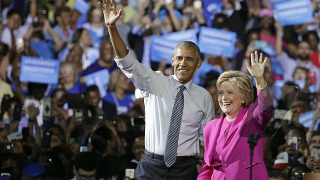 President Obama campaigning for Clinton