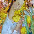 Lê pho (1907-2001) jeune fille dans le jardin