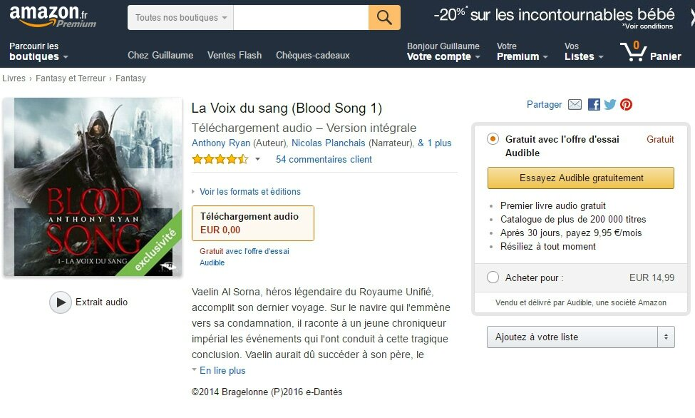 Amazon France intègre les livres audio d'Audible