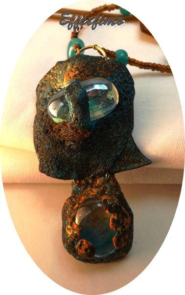 pendentif patiné or et turquoise 008