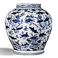A blue and white 'lotus pond' jar. ming dynasty, wanli period