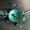 collier tdc zigboullis et nacre vert sapin et noir 16 euros