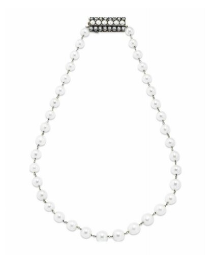 Formerly the property ofHer Royal Highness The Duchess of Genova. An antique natural pearl necklace