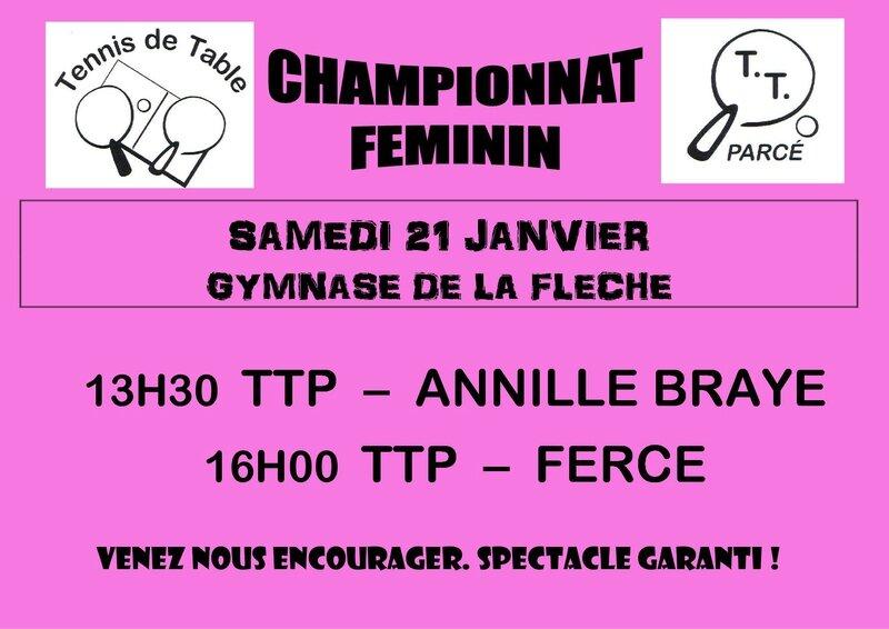 Affiche Féminines Phase 2 J1 TTP 1