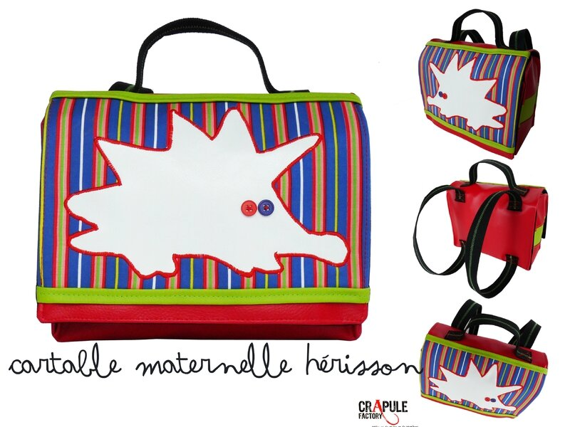 cartable herisson rouge simili rayures mixte 2