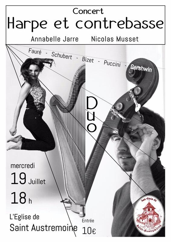 Affiche duo harpe contrebasse 20173 St austremoine