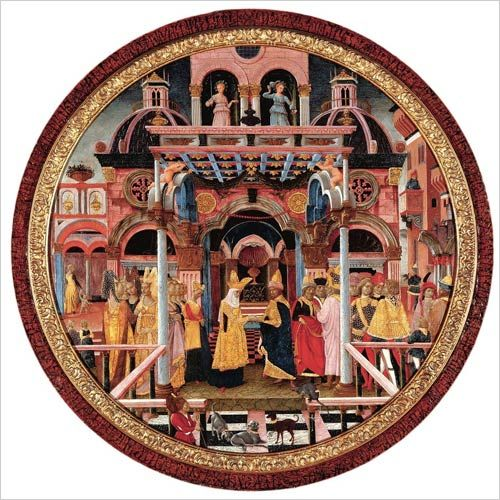 on francesco del cossas meeting of solomon and the queen of sheba Basilica of san francesco the history of the true cross or the the queen of sheba in adoration of the wood and the meeting of solomon and the queen of sheba.