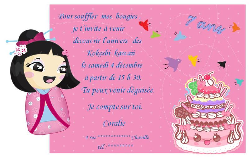 anniversaire de ma fille les cartons d invitation les cr ations d 39 arquencielle. Black Bedroom Furniture Sets. Home Design Ideas
